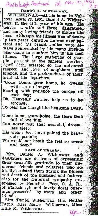 Obituary Daniel A Witherwax 26 Apr 1901