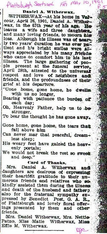 Obituary Daniel A Witherwax 26 Apr 1901