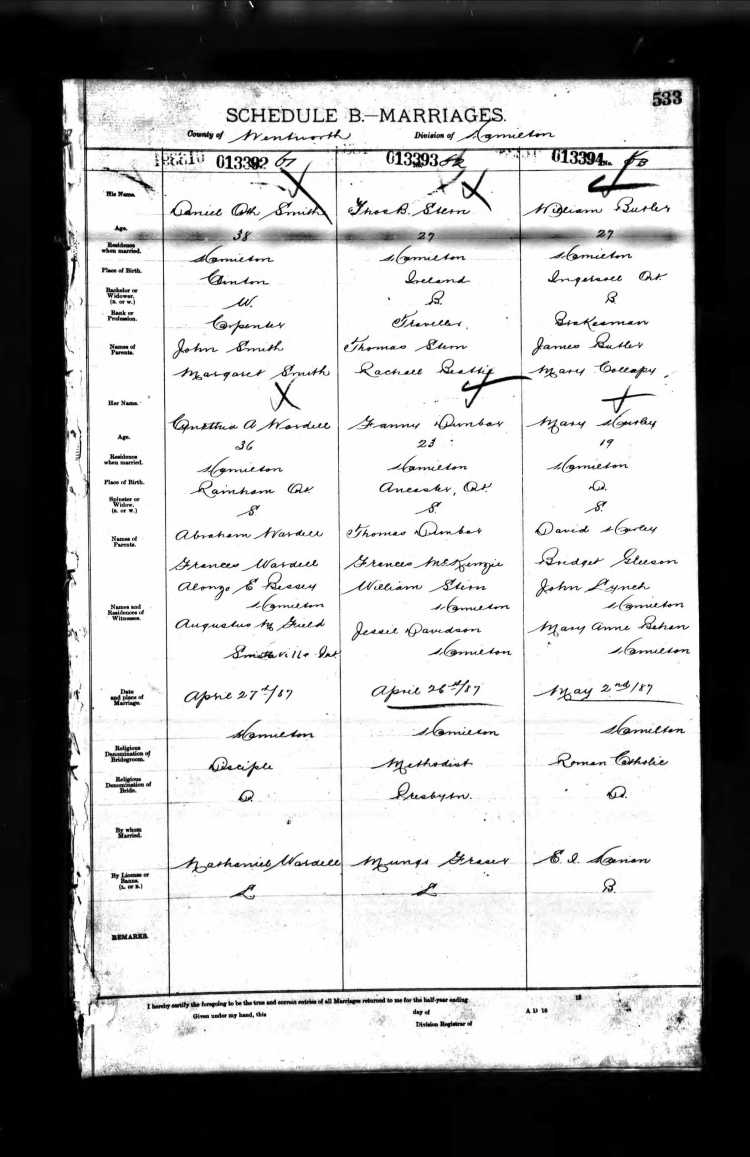 William Butler Mary Hurley Marriage Record